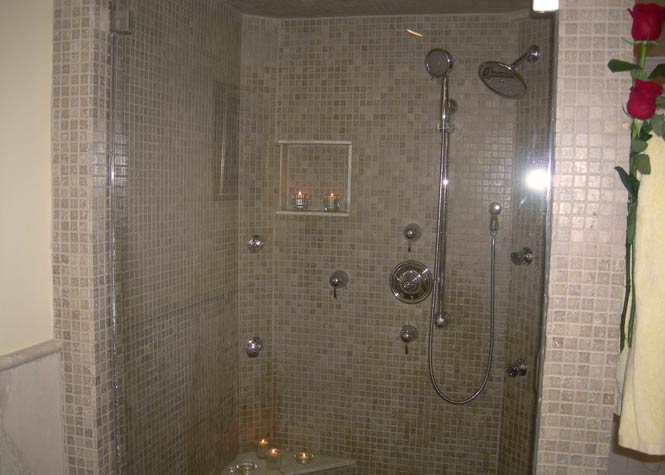2 person shower with rain head and hand held showers with 4 body sprays